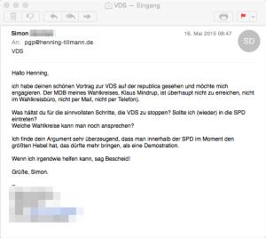Erhaltene E-Mail nach re:publica Vortrag